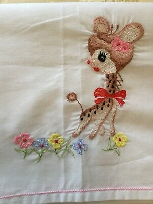 Vintage Retro Embroidered Baby Cot Sheet Nursery