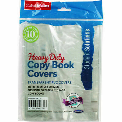 Pack of 10 Heavy Duty Transparent PVC Copy Book Covers