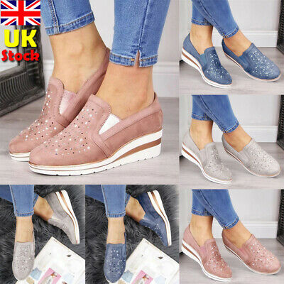 Womens Rhinestone Suede Moccasins Pumps Flats Slip On Wedges Loafers Shoes Size