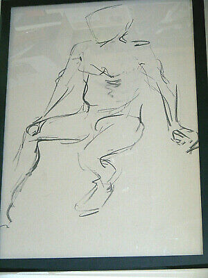 Figure life drawing nude expressive, charcoal/paper, man sitting  A1/A2 size @