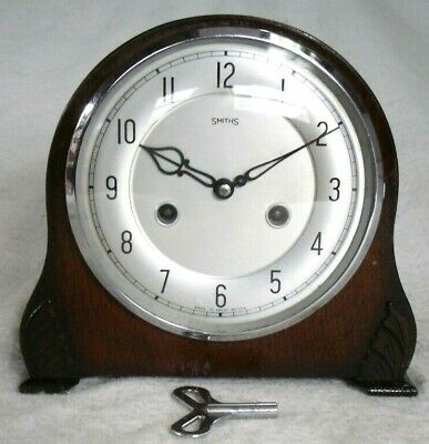 Vintage 1940s Smiths Albany Wooden Striking Mantel Wind-up Clock,Fully Restored