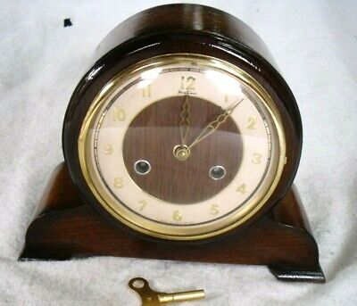 Vintage 1950s Bentima Perivale: Chiming Wooden Mantel Wind-up Clock - Restored.