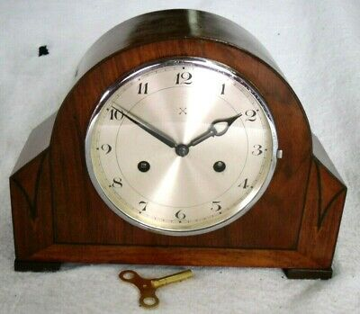 1930s German Junghans Ornate Wooden Inlay Mantel Wind-Up Chiming Clock,Restored