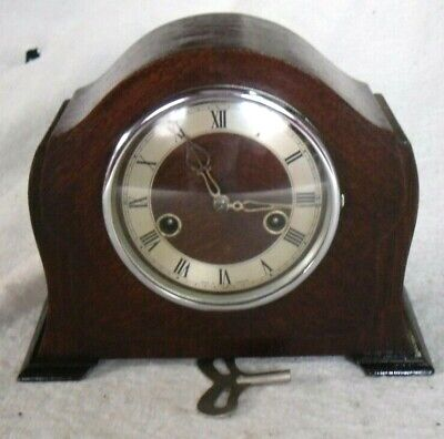 Vintage 1950s Smiths Enfield Wooden Chiming Mantel Wind-up Clock,Fully Restored