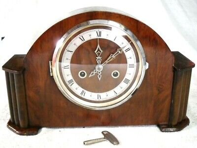 Vintage 1930s Made in England Walnut Wood Chiming Mantel Wind-up Clock,Restored
