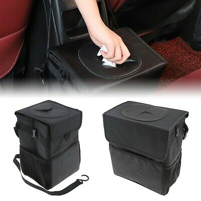 Portable Foldable Black Nylon Car Trash Garbage Bin Bag Organizer For Vehicle