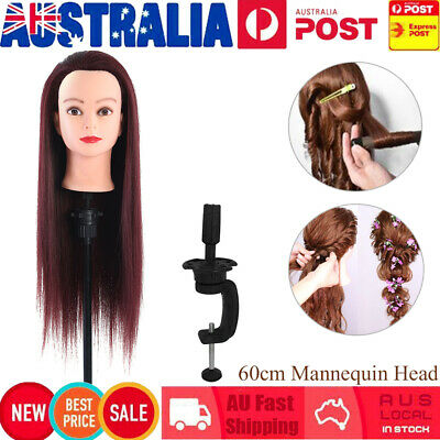 60cm Hair Hairdressing Practicing Model Mannequin Dummy Head With Clamp Red