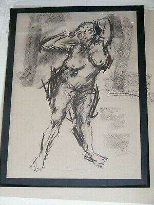Figure life drawing nude expressive charcoal/paper, woman standing  A1/A2 size @