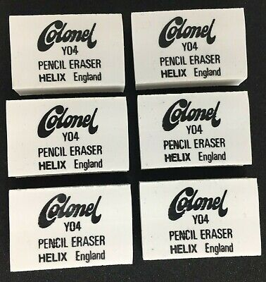 Helix Colonel Y04 White Soft Pencil Erasers/Rubbers/Rubber x6 Y0402 England