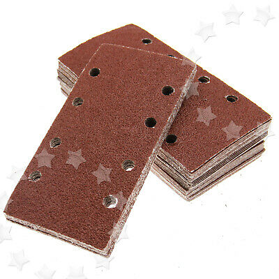 5 Pieces 8 Holes Rectangle 5 Mixed 40-120 Grits Sanding Discs Sand Paper Pads