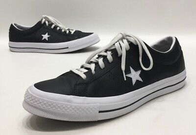 CONVERSE ONE STAR Ox Mens Black Leather Low Top Casual Sneakers Size 13