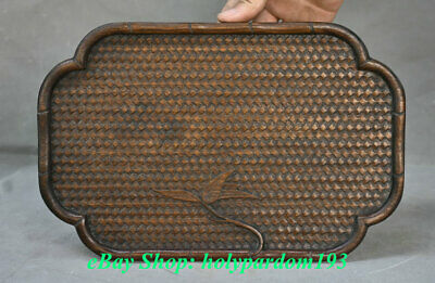 """12"""" Old Chinese Huanghuali Wood Hand Engraving Dynasty Palace Plate Dish Tray"""