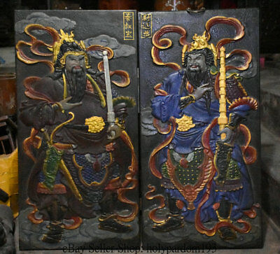 """32"""" Antique Chinese Wood lacquerware Painted Protection Deity Door God Screen"""
