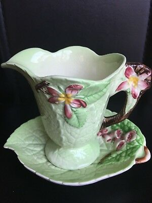 1930s Carlton Ware embossed 'Foxgloves' leaf dish & 'Wild Apple Blossom' creamer
