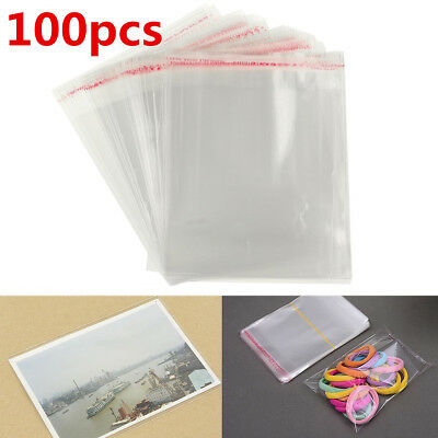 100x Clear Cellophane Cello Display Bags Self Adhesive Seal Plastic OPP For