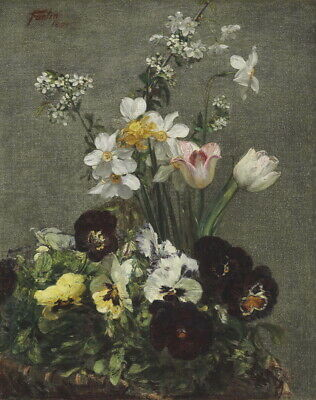 Henri Fantin Latour Narcissus Tulips And Pensees Giclee Canvas Print Poster
