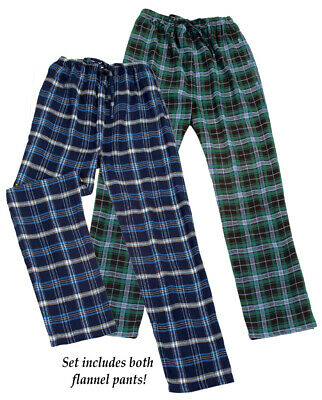 Collections Etc Men's Comfy Flannel Pajama Pants - Set of 2 BLUE/GREEN LARGE
