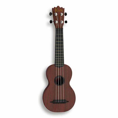 "Koda Soprano  Ukulele 21"" Hard Plastic Mahogany, Black Fingerboard with Bag"
