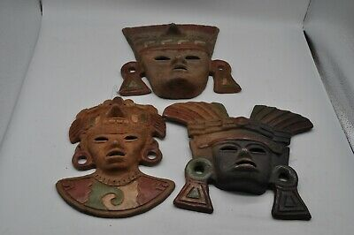 Terracotta Pottery Mexican Mayan Aztec Inca Style Mask Hanging Wall Decor