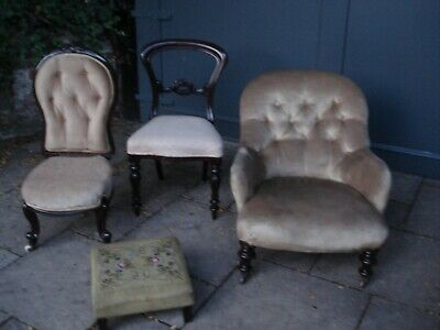 3 Victorian Chairs  And Foot Stool