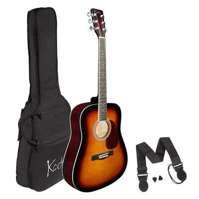Koda Acoustic Guitar Beginner HW41201 Sunburst 4/4 PACK w/ Bag, Strap & 2 Pics
