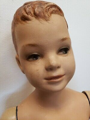 "Antique Mannequin Vintage Art Deco Advertising Young Boy Doll Articulated 37"" h"