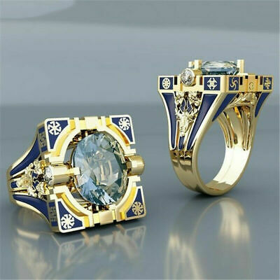 Vintage White Topaz Blue Ring Women Wedding 18K Gold Plated Jewelry Size 6-10