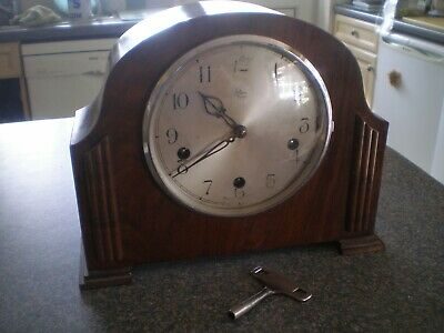 ENFIELD ROYAL PRE-WAR 3 TRAIN WOODEN MANTLE CLOCK Working & keeping good time