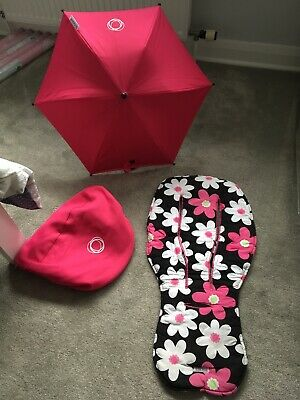Bugaboo Bee Plus Hot Pink Sun Canopy Hood Seat Liner And Parasol Sun Shade