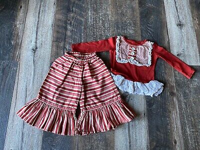 2pc Girls Persnickety Outfit Shirt Ruffle Leggings Set 12-18m Christmas