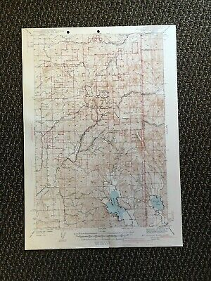 Vintage USGS Mt. Spokane Washington Idaho 1943 Topographic Map