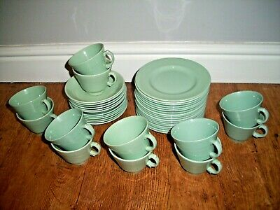 Antique 1940's Wood's Ware Beryl China Teacups Saucers & Side-Plates (42 Pieces)