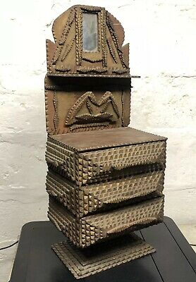 Outstanding 19th Century Antique Tramp Art Wooden Cigar 3 Drawer Trinket Box 21""
