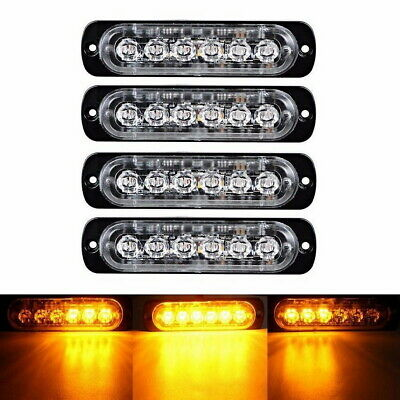 4X 6 LED Car Truck Emergency Strobe Amber Flashing Beacon Breakdown 12/24V Light