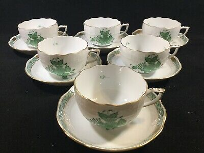 SET 6 Herend CHINESE BOUQUET GREEN (AV) 724 Cup & Saucers EX COND