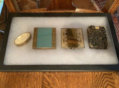 Vintage Makeup Compact Lot Of 3 And Lipstick Holder Max Factor Rex Fifth Ave