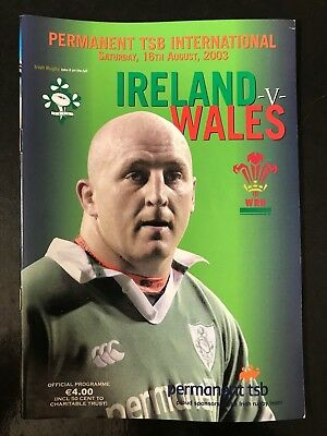 8751 - Ireland v Wales 2003 Rugby Programme WRU IRFU August 16th 16/08/2003