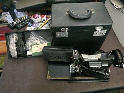 Vtg Singer Featherweight 221-1 Quilters Sewing Machine Case Attachments *EUC*