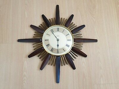 Vintage Mid Century Acctim Starburst Wall Clock Working  Made in West Germany