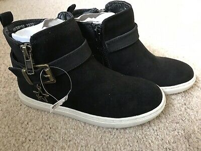 BNWT Next Girls Ankle Boots. Black. Size Infant 10 - Adults 6. Zip - Buckle