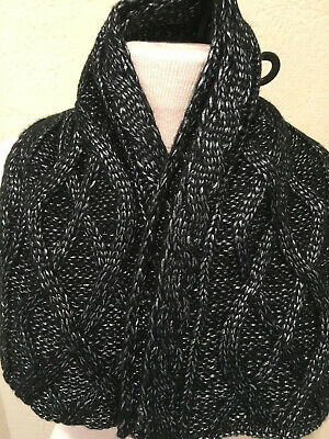 """Kmart Crochet Knitted Scarf One Size Black w/ Silver Shimmer Winter 8""""/72"""""""