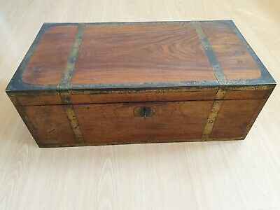 Victorian Brass Bound Large Campaign Writing Slope Box With Key