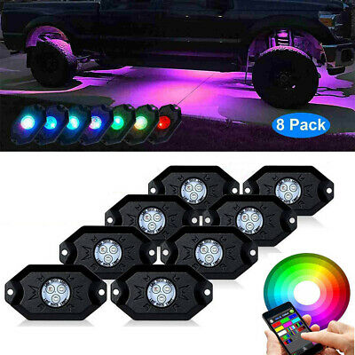 8x RGB LED Bluetooth Unterboden Beleuchtung Atmosphäre Rock Licht Offroad #D