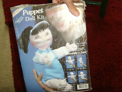 Vintage NIP NOS Loveable Lindy Puppet doll craft kit pre printed fabric retro