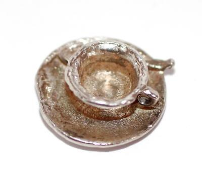 Teacup And Saucer and Spoon Sterling Silver Vintage Bracelet Charm