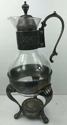 Vintage Kent Silversmith Pitcher, Glass, Silver, On Stand