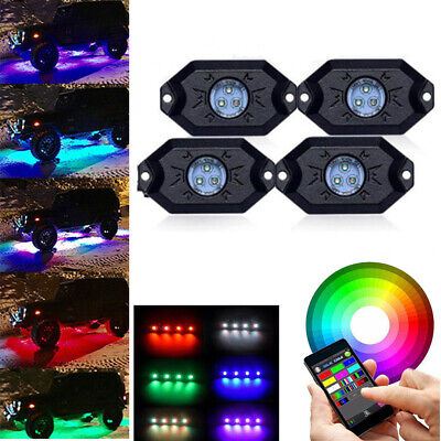 4x RGB LED Bluetooth Unterboden Beleuchtung Atmosphäre Rock Licht Offroad #D