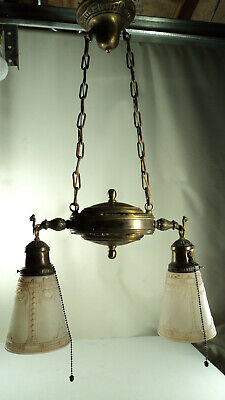 Special Antique 2 light brass light fixture with shades and acorn pulls