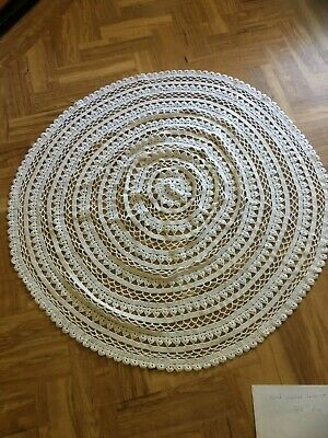 """Vintage style heavy pure white cotton round crochet tablecloth 42"""" dia. BNWOT"""