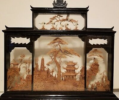 "Numbered Antique Chinese wood carving in black laquer frame 14 1/4""Hx17""W"